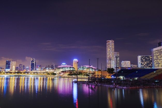 Cityscape of singapore city at night