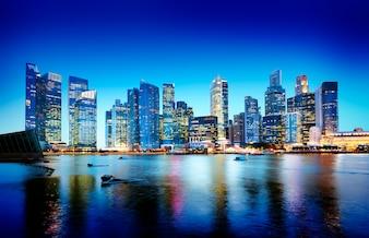 シンガポールのパノラマの夜のコンセプト