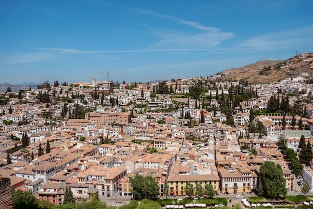 Cityscape view of the albayzin from alhambra palace. granada, spain.