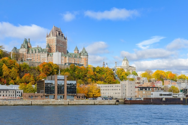 Cityscape view of old quebec city waterfront and upper town from saint-lawrence river in quebec, canada