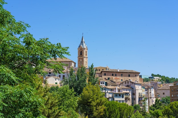 Cityscape with a bell tower surrounded by swallows on a sunny summer day