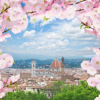 Cityscape with church santa maria del fiore at spring day, florence, italy