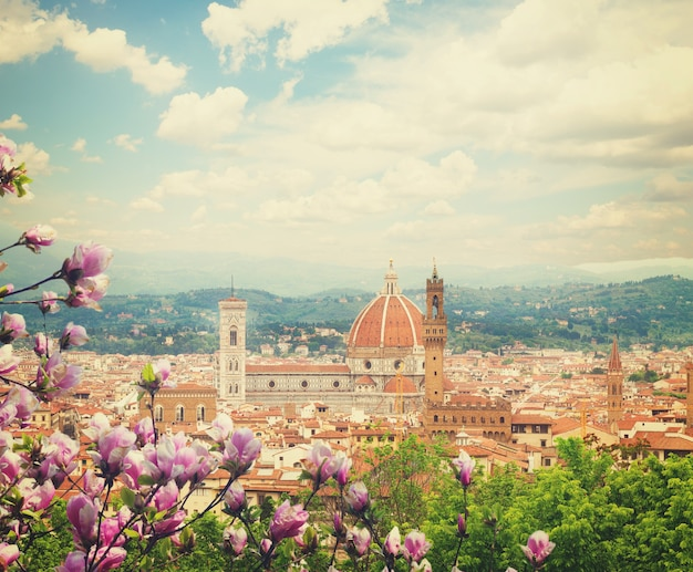 Cityscape with church santa maria del fiore at spring day with blooming magnolia, florence, italy, retro toned