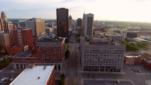 Cityscape with a lot of tall buildings in buffalo, new york