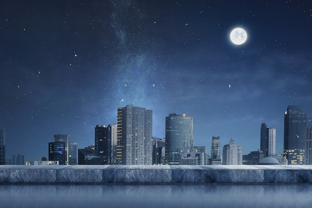 Cityscape with night scene and moonlight