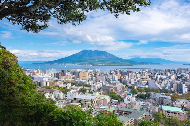 Cityscape with sakurajima mountain, sea and blue sky background view