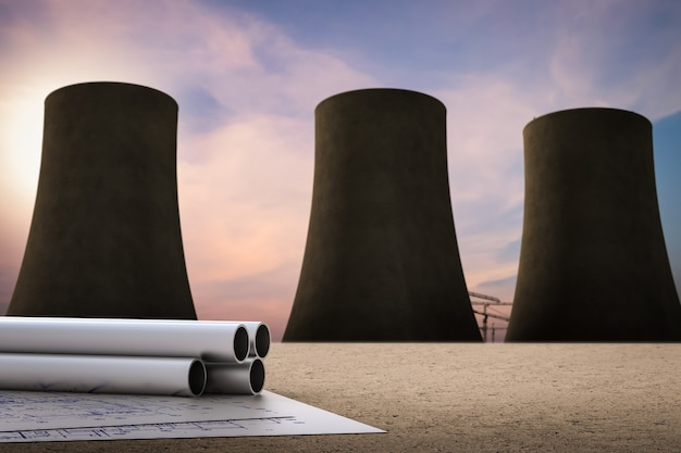 Civil engineer concept with nuclear power plant background