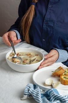 エビとジャガイモのクラムチャウダークリームスープ