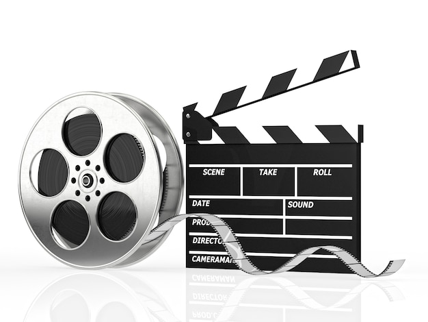 Clapboard and film roll
