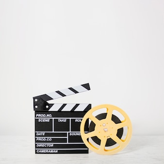 Clapboard with film reel