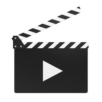 Clapper movie board on white