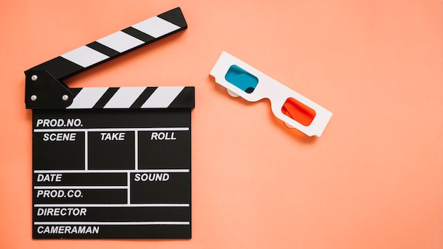 Clapperboard and 3d glasses