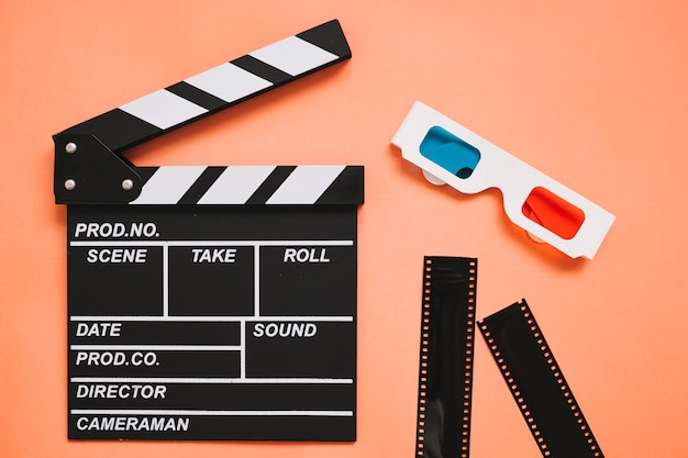 Clapperboard next to 3d glasses