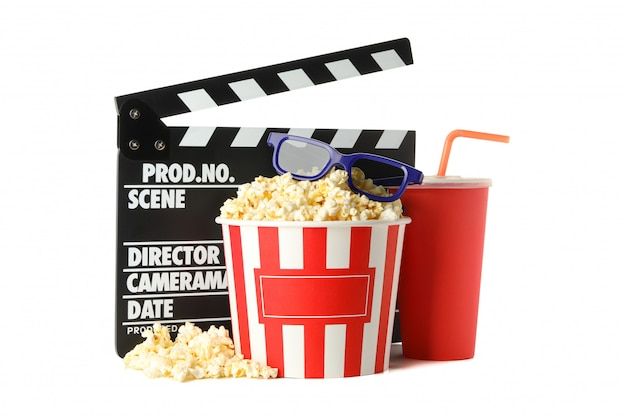 Clapperboard, bucket with popcorn, drink and 3d glasses isolated on white space