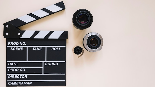 Clapperboard and camera lenses