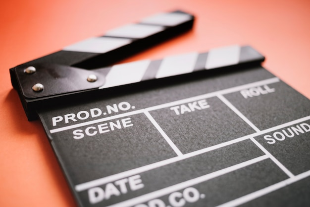 Clapperboard close up