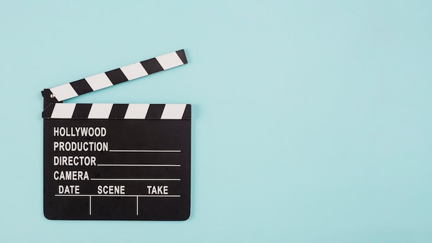 Clapperboard and copyspace