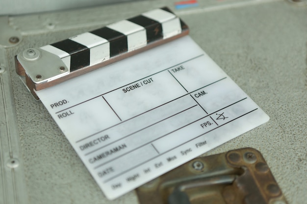 Clapperboard on a equipment box