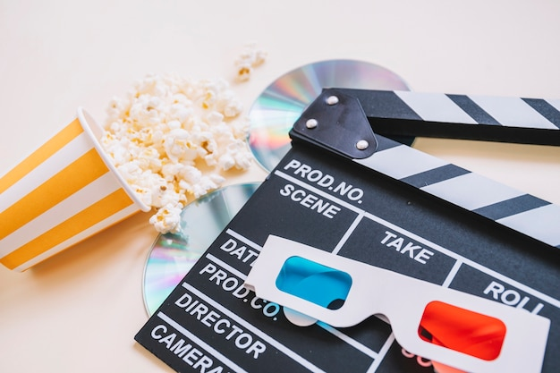 Clapperboard and movie elements