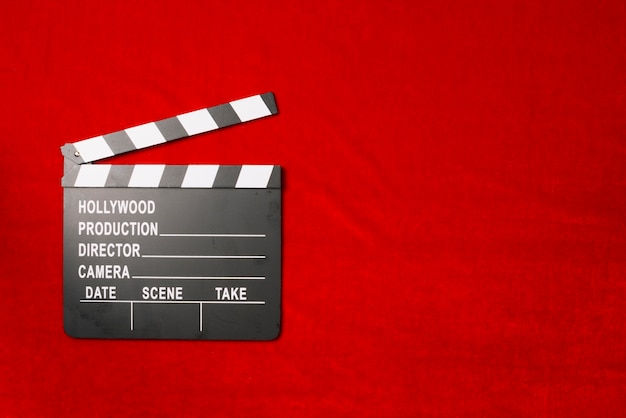 Clapperboard on velvet cloth