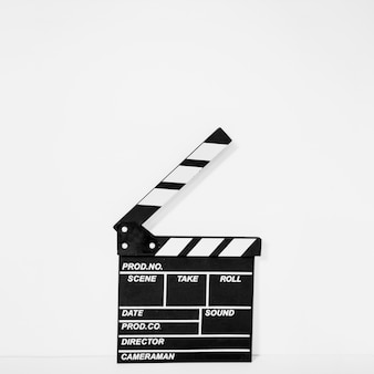 Clapperboard on white backdrop