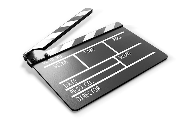 Clapperboard on white background close-up