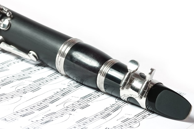 Clarinet on a white background