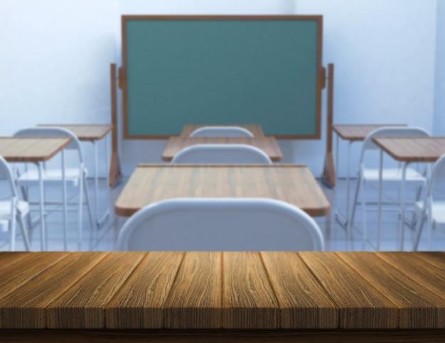 Il rendering 3d di un tavolo di legno con una classe defocussed in background