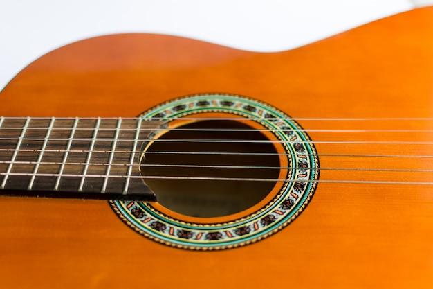 Classic acoustic guitar close-up