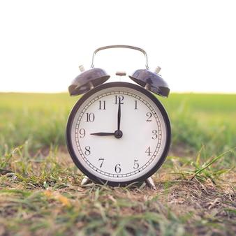 自然を背景に黒のクラシックな目覚まし時計