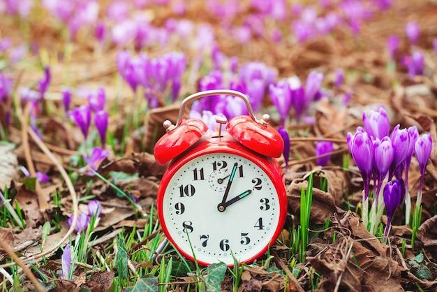春の花の上の古典的な目覚まし時計