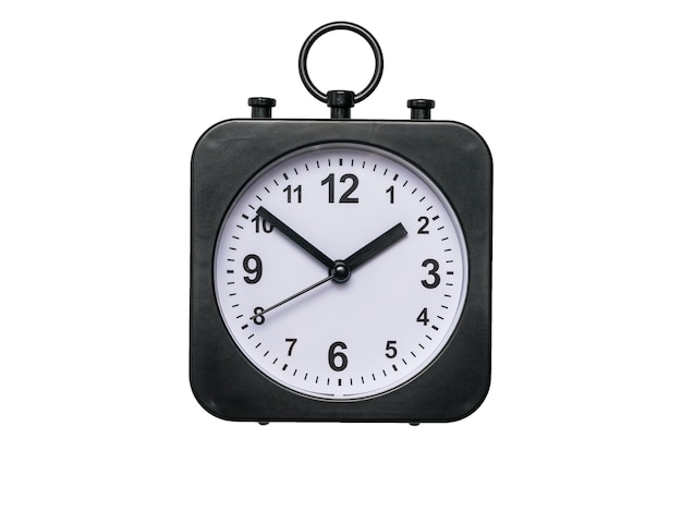 Classic alarm clock with hands isolated on a white background.