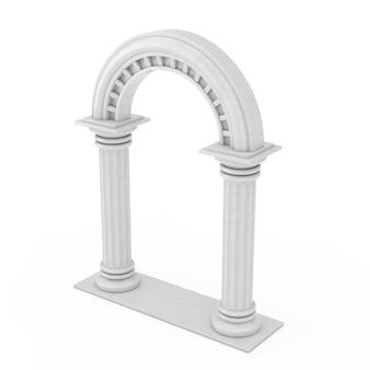흰색 바탕에 고전적인 고대 그리스 기둥 호. 3d 렌더링