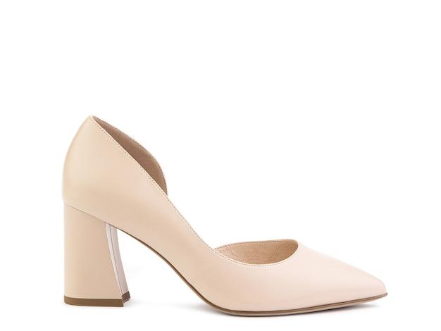 클래식하고 우아한 스웨이드 하이힐 여성 신발 하이 블록 힐에 세련된 베이지 색 신발
