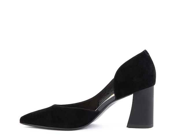 클래식하고 우아한 스웨이드 하이힐 여성 신발 하이 블록 힐에 세련된 검은 색 신발