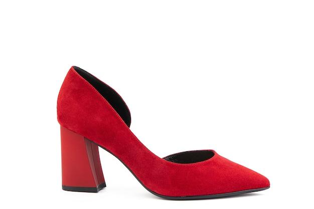 클래식하고 우아한 스웨이드 하이힐 여성 신발 하이 블록 힐에 세련된 빨간 신발