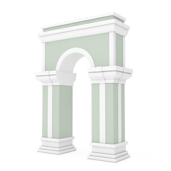 白い背景の上の列と古典的なアーチの出入り口。 3dレンダリング