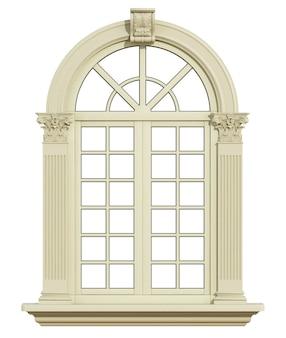 白で隔離されるコリント式の柱を持つ古典的なアーチウィンドウ。 3dレンダリング