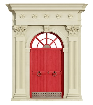 Classic arch with corinthian column and red front door. 3d rendering