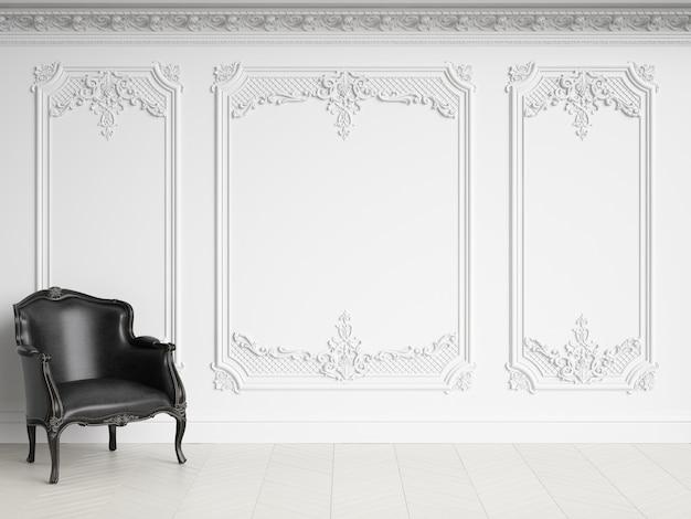 복사 공간이 클래식 인테리어에 클래식 안락 의자. 흑백 감마