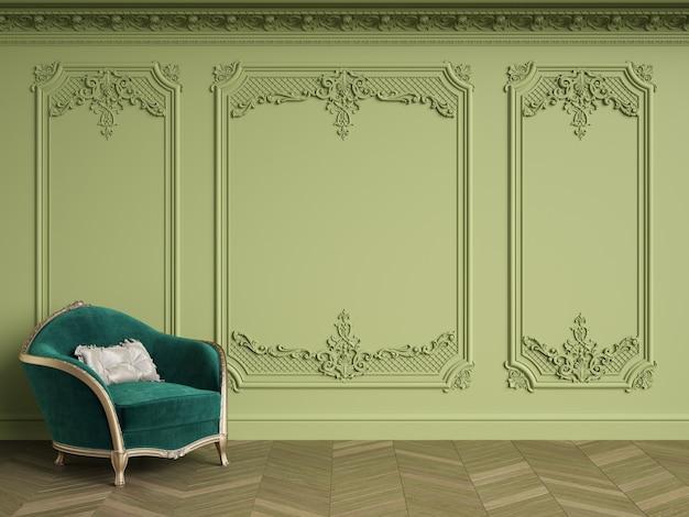복사 공간이 클래식 인테리어에 클래식 안락 의자. 녹색 감마