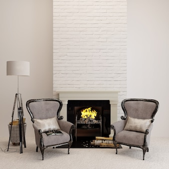 Classic armchair in a room with fireplace