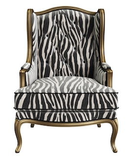 Classic armchair with carved details isolated on white background