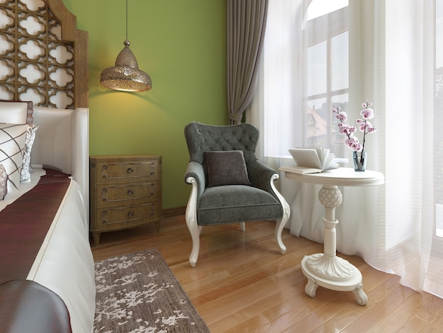 Classic armchair with white coffee table, eastern bedroom style. 3drendering