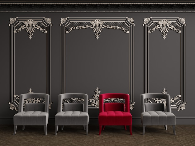 Classic armchairs in classic interior with copy space