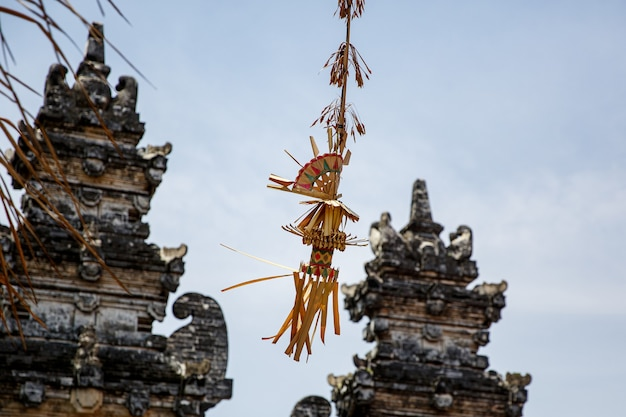 Classic balinese penjor, one of the main symbols of bali island, indonesia