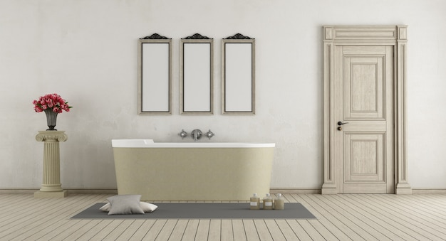 Classic bathroom with stone bathtub,closed door and pedestal with roses. 3d rendering