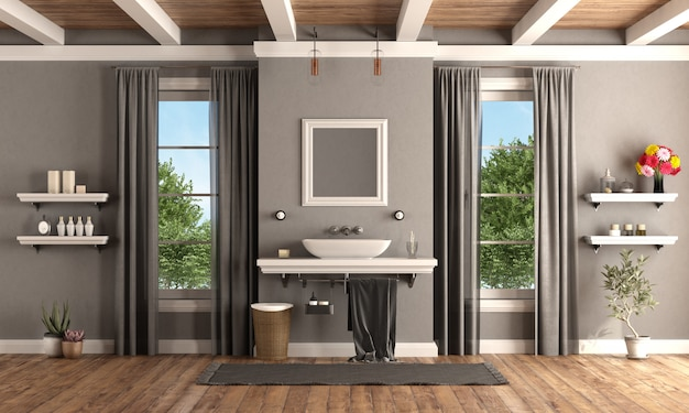 Classic bathroom with washbasin on shelf in classic style