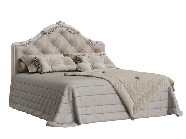 Классическая кровать с резным изголовьем изолирована