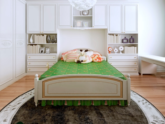 Classic bedchamber design of green bed standing on a round carpet.